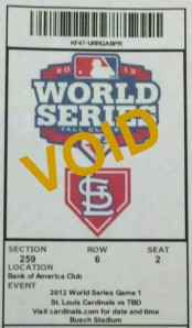 Game 1 World Series ticket
